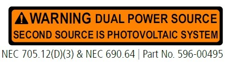 WARNING DUAL POWER SOURCE SECOND SOURCE IS PHOTOVOLTAIC SYSTEM