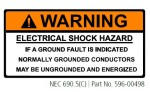 ELECTRIC SHOCK HAZARD IF A GROUND FAULT IS INDICATED NORMALLY GROUNDED CONDUCTORS MAY BE UNGROUNDED AND ENERGIZED