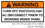 WARNING TURN OFF PHOTOVOLTAIC AC DISCONNECT PRIOR TO WORKING INSIDE PANEL