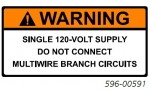 WARNING SINGLE 120-VOLT SUPPLY DO NOT CONNECT MULTIWIRE BRANCH CIRCUITS